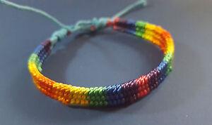 Gay Pride Rainbow Macrame Multi-Colour LGBT LGBTQ Friendship Bracelet Beach Wrap