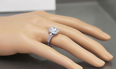 GIA H-VS2 14k White Gold Round Cut Diamond Engagement Ring Deco Prong 1.95ctw 5