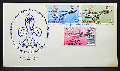 Haiti FDC Boy Scout Jamboree Mondial Lisbonne Overprint Pfadfinder Motiv (G-9348