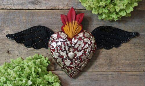Handmade Red Wood Heart Milagro & Tin Wings Miracle Mexican Folk Art Michoacán