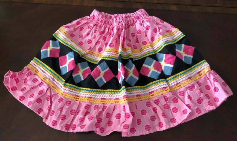 Native American Traditionl Seminole Patchwork Skirt Little Girl Pink Black