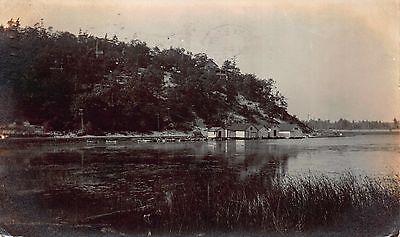 Real Photo Postcard Town, Lake, Boats, Fishing Shacks in Galena, Illinois~111809