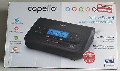 Capello Weather Alert Clock Radio Black CR2W In Box