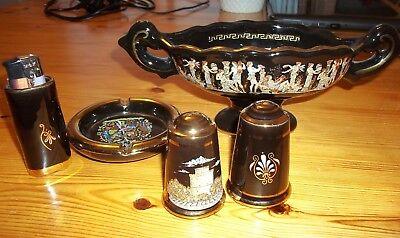Handmade Greek pottery set, 24 carat gold plated