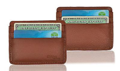 Men's Luxury Genuine Leather Pocket Case Small Id Credit Card Holder Slim Wallet