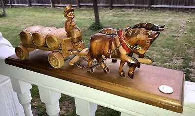 Rare Black Forest Carving Draft Horse Team Pulls Beer Keg Wagon