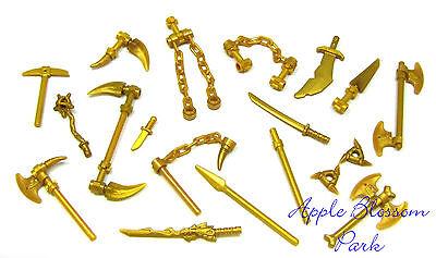 NEW Lego Ninjago Ninja Minifig GOLD WEAPON SET w/Golden Minifigure Dragon Sword