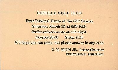Roselle Golf Club, First Informal Dance of The Season 1937, New Jersey NJ 1937