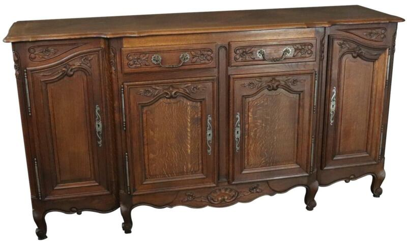 ROCOCO SIDEBOARD ANTIQUE FRENCH LOUIS XV 1900 OAK 4-DOORS 2-DRAWER