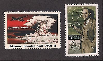 ATOMIC BOMB ENDS WWII + PHYSICIST ENRICO FERMI STAMP SET