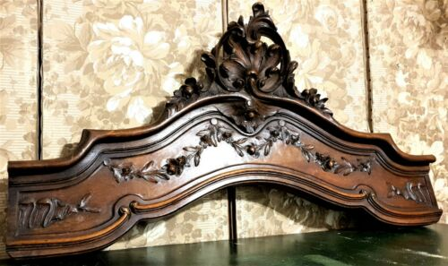 Scroll leaf garland flower carving pediment Antique french architectural salvage
