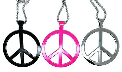 Hippie Necklace Fancy Dress Neon ABBA Party Peace Sign Jewellery Stainless Steel