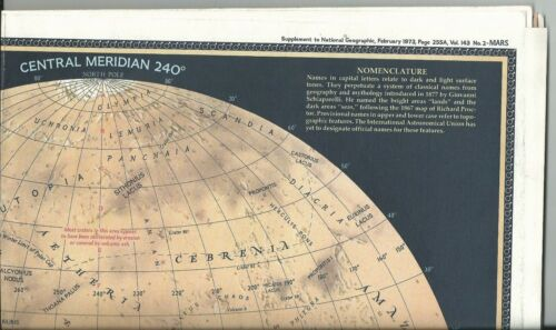 National Geographic Map - The Red Planet Mars - February 1973