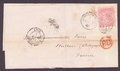 SG 66   4d Rose Carmine  London WC to France  1 August 1861