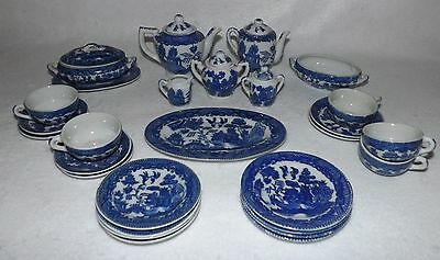 Vintage Child's Toy China Dishes - Blue Willow Pattern Collection - Japan