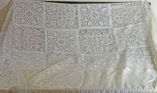 ARMY NAVY LINEN TABLECLOTH - SPECTACULAR LARGE VINTAGE PIECE TT827