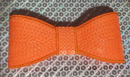 "XL 5"" Sequin Bow embellishment for boutique crafts NEON ORANGE"