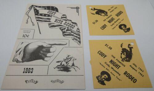Vintage CODY NITE RODEO souvenir program+ticket WYOMING 1963 Famous Buffalo Bill
