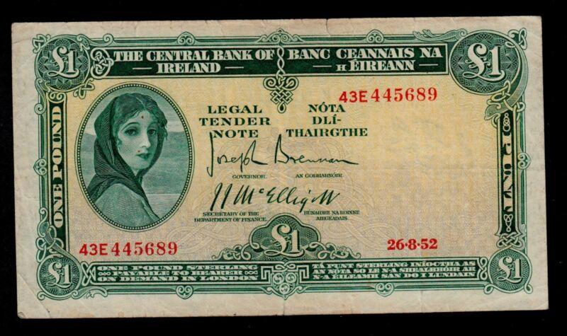 IRELAND REPUBLIC  1  POUND  1952 PICK # 57b2  FINE.