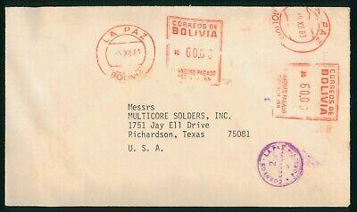Mayfairstamps Bolivia 1983 La Paz Multicore Solders Inc Texas Cover wwo_68493