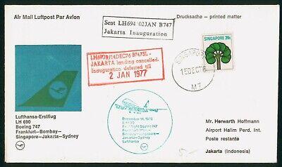 MayfairStamps Singapore 1976 to Jakarta Indonesia LH 690 Aviation Lufthansa Boei