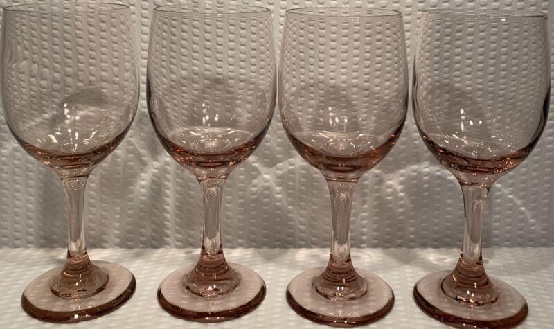 "Lot Of 4 ~ 7 1/4"" Libbey Rock Sharpe Premiere Plum 10oz Wine Glasses Vtg"