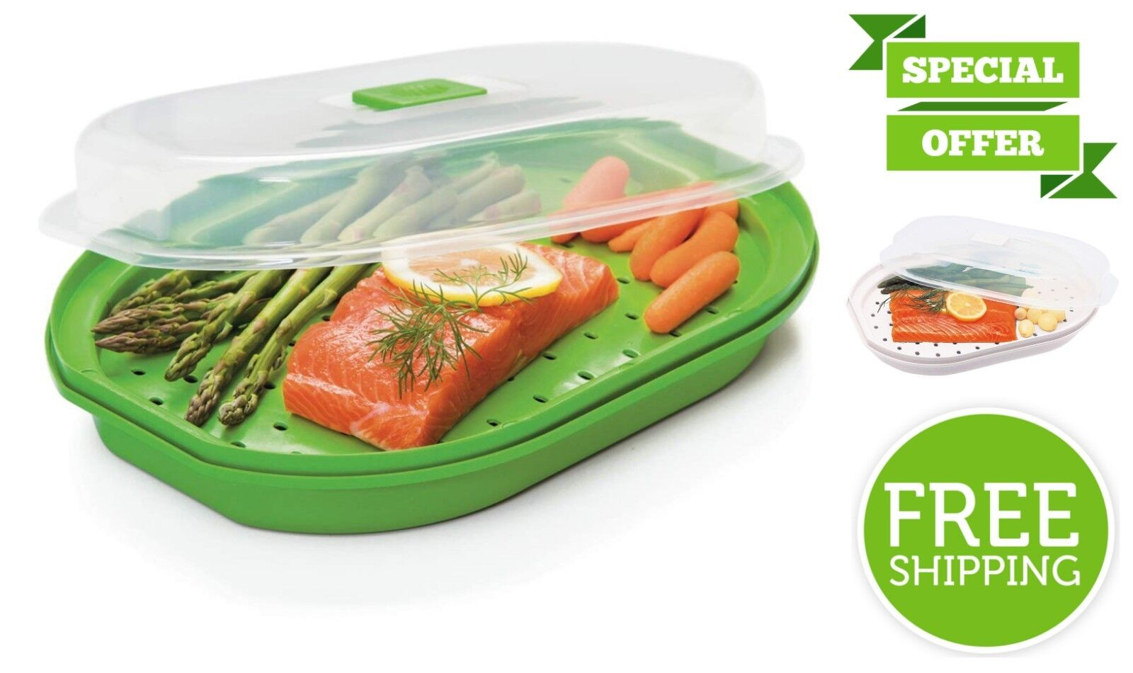 Microwavable Fish and Veggie Steamer Vegetable BPA Free Stea
