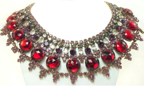 Costume Jewelry Vintage Style Husar D Czech Red Rhinestone Statement Necklace