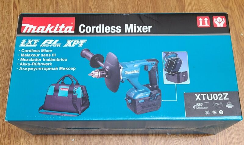 """New Makita XTU02Z 18V LXT Lithium‑Ion Brushless Cordless 1/2"""" Mixer, Tool Only"""