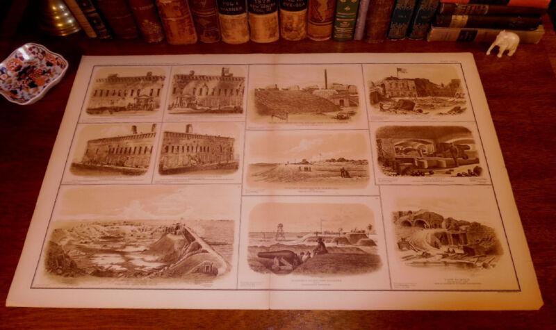 Original Civil War FORT SUMTER Charleston SC South Carolina Panoramic Map Print