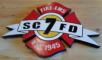 Fire Department Snohomish Fire EMS 7 3D routed wood patch plaque sign Custom