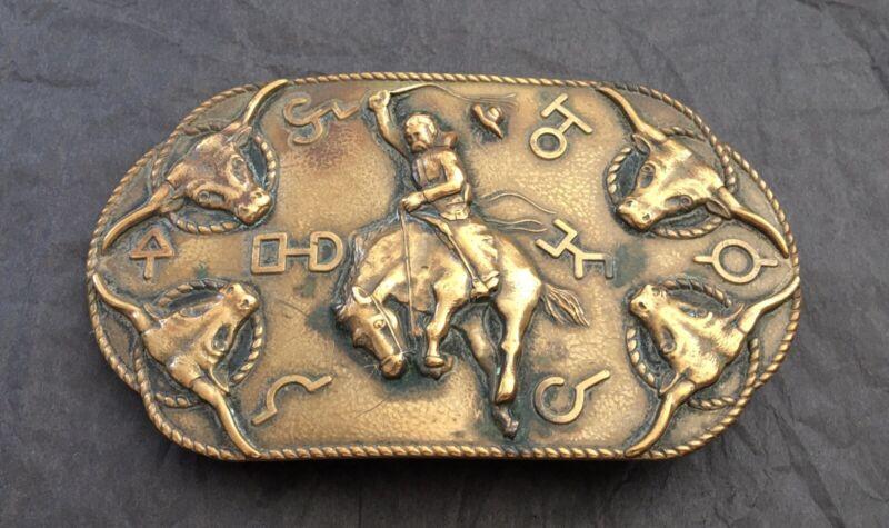 RARE 👑 Antique KEYSTON Design AMERICAN Cowboy Longhorn Ranch Brands BELT BUCKLE