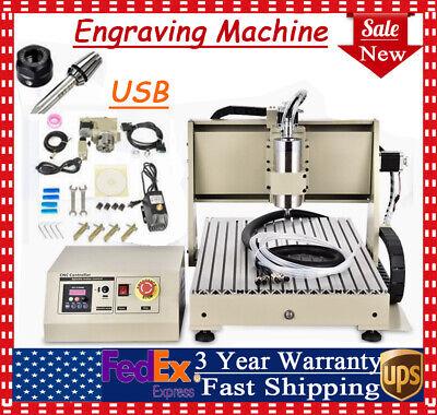 4 Axis Cnc 6040 Router Engraver Machine 1500w Vfd Engraving Drilling Pcb Diy Kit