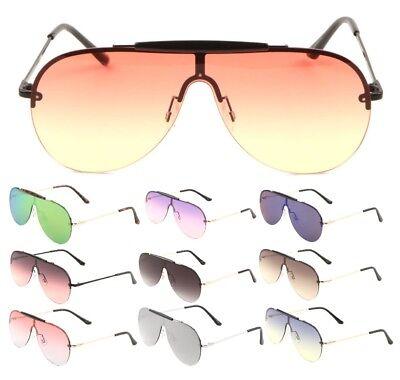 SHIELD OUTDOORSMAN FLAT ONE PIECE FLOATING LENS AVIATOR SUNGLASSES TOP BROW (Flat Brow Sunglasses)