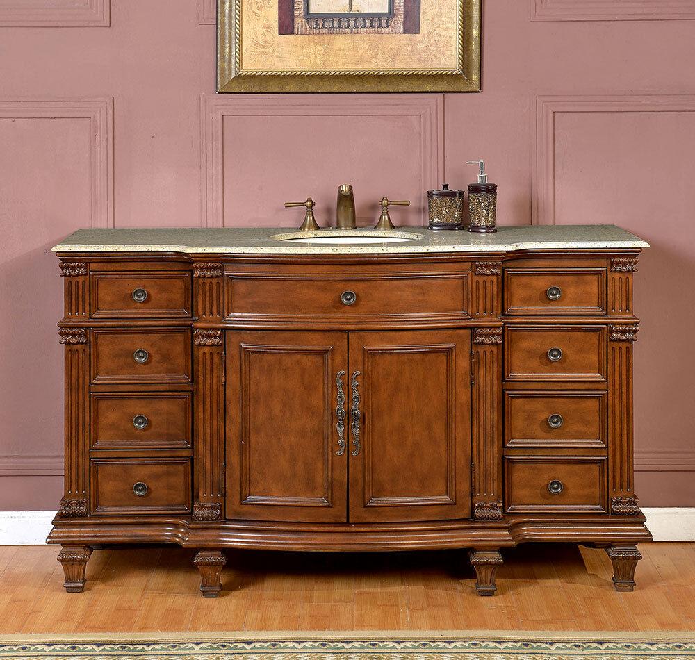 57 Inch Bathroom Vanity Top: 60-inch Gorgeous Granite Stone Top Single Sink Bathroom