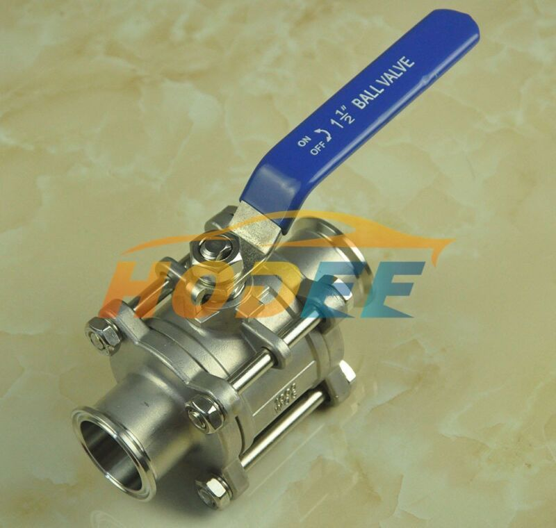 """HODEE 1.5 """" / 38MM Sanitary stainless steel 3 Piece ball valve SS304 Triclamp"""