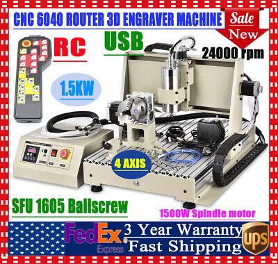 Usb 4 Axis 1500w Desktop Cnc Router Engraver Milling Engraving Machine 6040t Rc