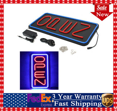 Big Vertical Neon Open Sign Store Business Bright Display Led Large Redblue