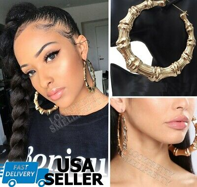 4 Inch Large Big Door Knocker Bamboo Hoop Gold Earrings Hip Hop Basketball Wives ()