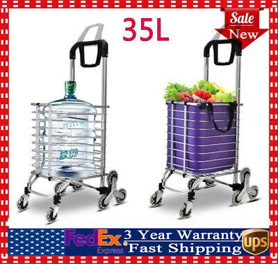 Multipurpose Shopping Grocery Cart Folding Laundry Basket Stair Climb Stylish