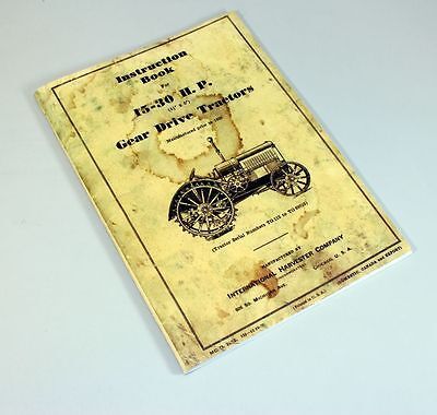 Mccormick Deering 15 30 Tractor Operator Owners Manual Ihc Farmall International