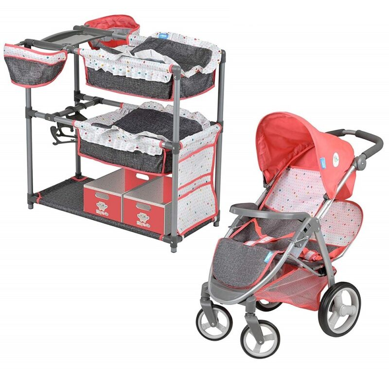 Hauck Twin Doll Play Set with Stroller and Changing Table