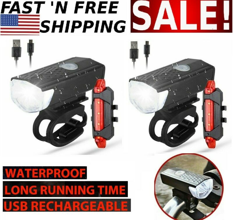 2 PCS/Set Bicycle Headlight Front Lamp&Rear Taillight LED Light USB Rechargeable