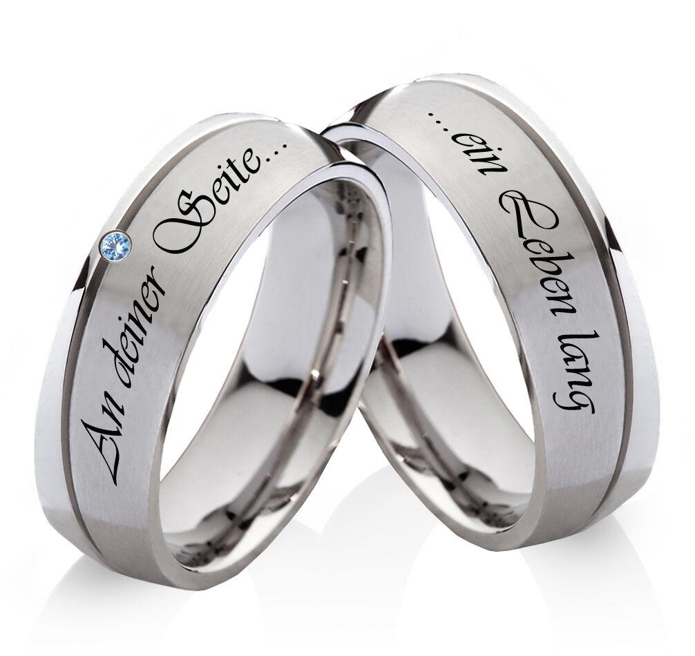 Eheringe Trauringe Verlobungsringe mit echtem Topas und Ringe Lasergravur  H174