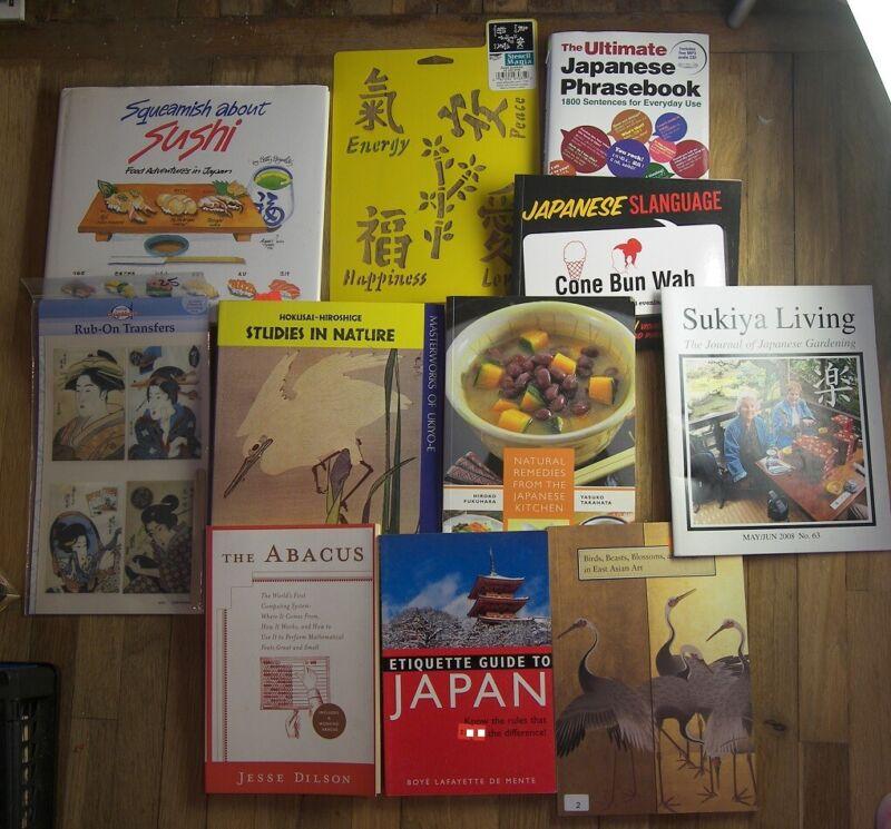LOT Japan Asian Oriental Art Japanese Phrasebook Stencils Abacus Sukiya Cookbook