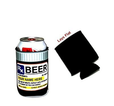 Prescription Beer Can Black Neoprene cooler, 12oz - Personalized for Free