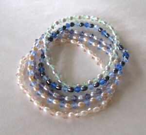 Genuine-FW-Pearl-Faceted-Crystal-Stretch-Bracelets-5-Variations-Close-out