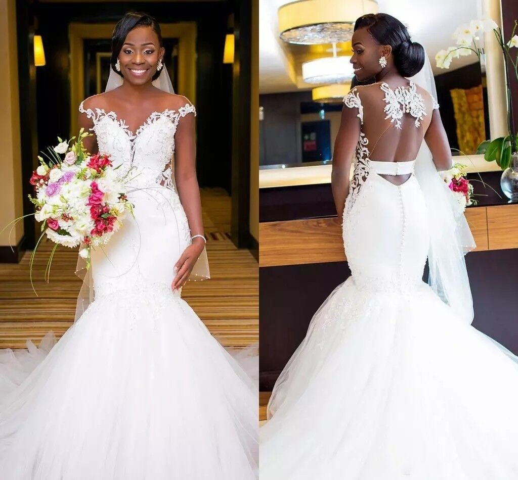 African Cap Sleeve Wedding Dresses Lace Mermaid Bridal Gowns Church