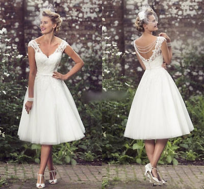 Vintage Bridal (Vintage Short Wedding Dress Tea Length White Ivory Bridal Gown Custom 6 8 10)