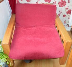 Futon Company Oak single chair/bed